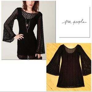 Free People Gypsy Lace bodycon dress bell sleeves